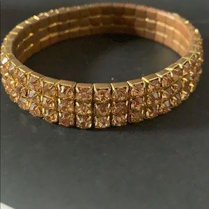 Citrine rhinestone stretch bracelet